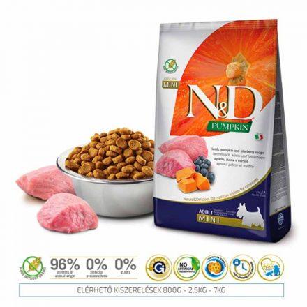 N&D Kutyatáp Mini Adult Grain Free Bárány Áfonya Sütőtök  7Kg