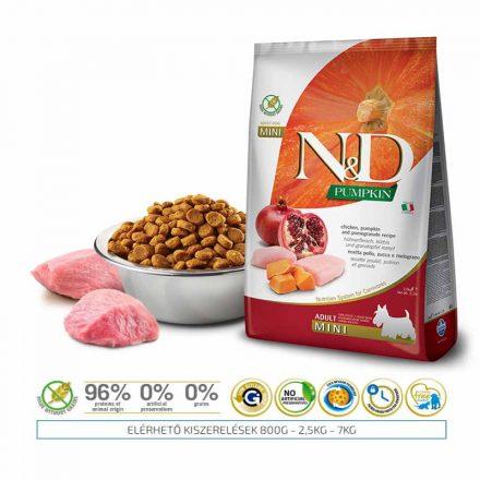 N&D Kutyatáp Mini Adult Grain Free Csirke Gránátalma Sütőtök  7Kg