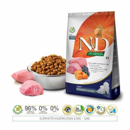 N&D Kutyatáp Medium/Maxi Puppy Grain Free Pumpkin Bárány Áfonya Sütőtök  12Kg