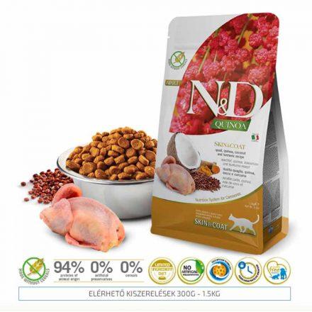 N&D Cicatáp  Quinoa Skin&Coat Fürj  1,5Kg