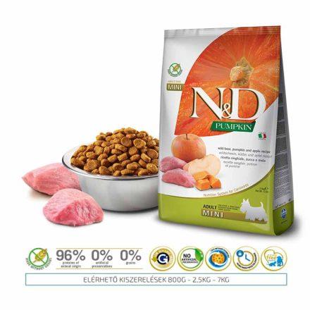 N&D Kutyatáp Mini Adult Grain Free Vaddisznó Alma Sütőtök  800G