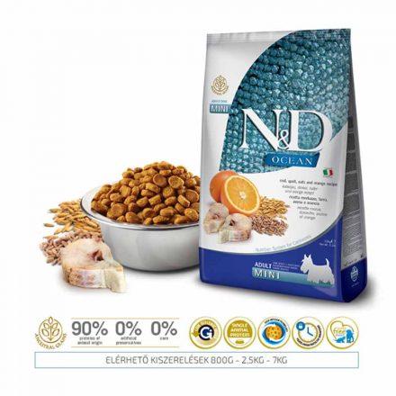 N&D Kutyatáp Mini Adult Ocean Tőkehal, Tönköly, Zab, Narancs  2,5Kg