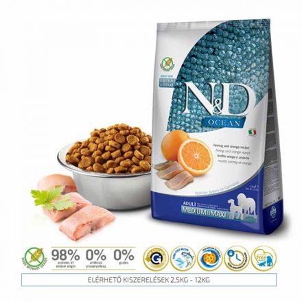 N&D Kutyatáp Medium/Maxi Adult Ocean Hering, Narancs  12Kg
