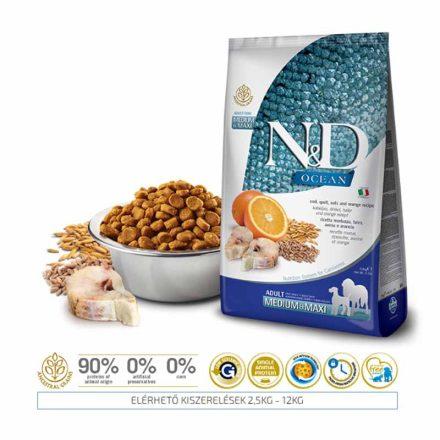 N&D Kutyatáp Medium/Maxi Adult Ocean Tőkehal, Tönköly, Zab, Narancs  12Kg