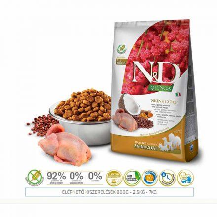 N&D Kutyatáp Quinoa Adult Skin&Coat Fürj  2,5Kg