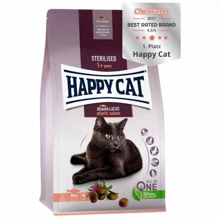 Happy Cat Cicatáp Fit&Well Adult Sterilised Lazac  4Kg